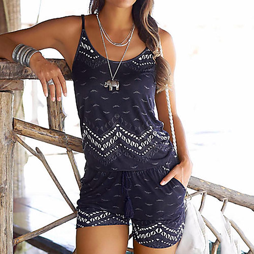 Women Spot Holiday Mini Playsuit Ladies Summer Beach Shorts Jumpsuit Dress 10-16