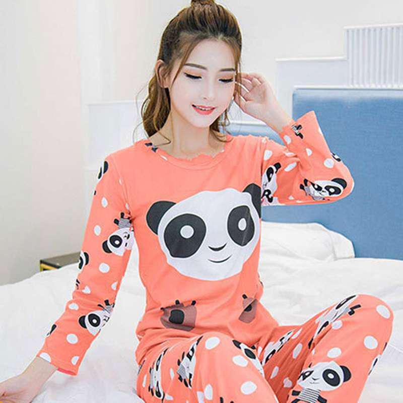 Été femmes manches courtes Cartoon Sleepwear Pyjamas Set Loose Nightwear Homewear