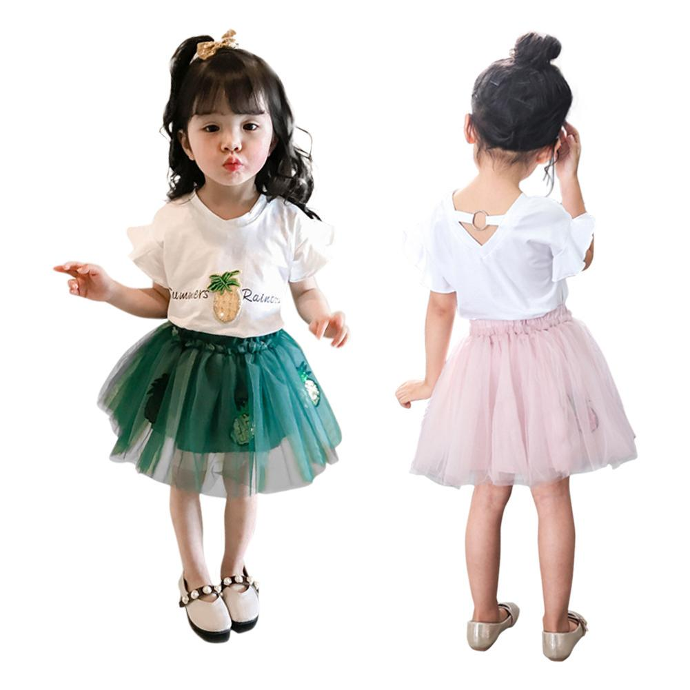 UK Stock 2PCS Kids Baby Girls Summer Clothes Sling Tops+Skirt Dress Outfit Set