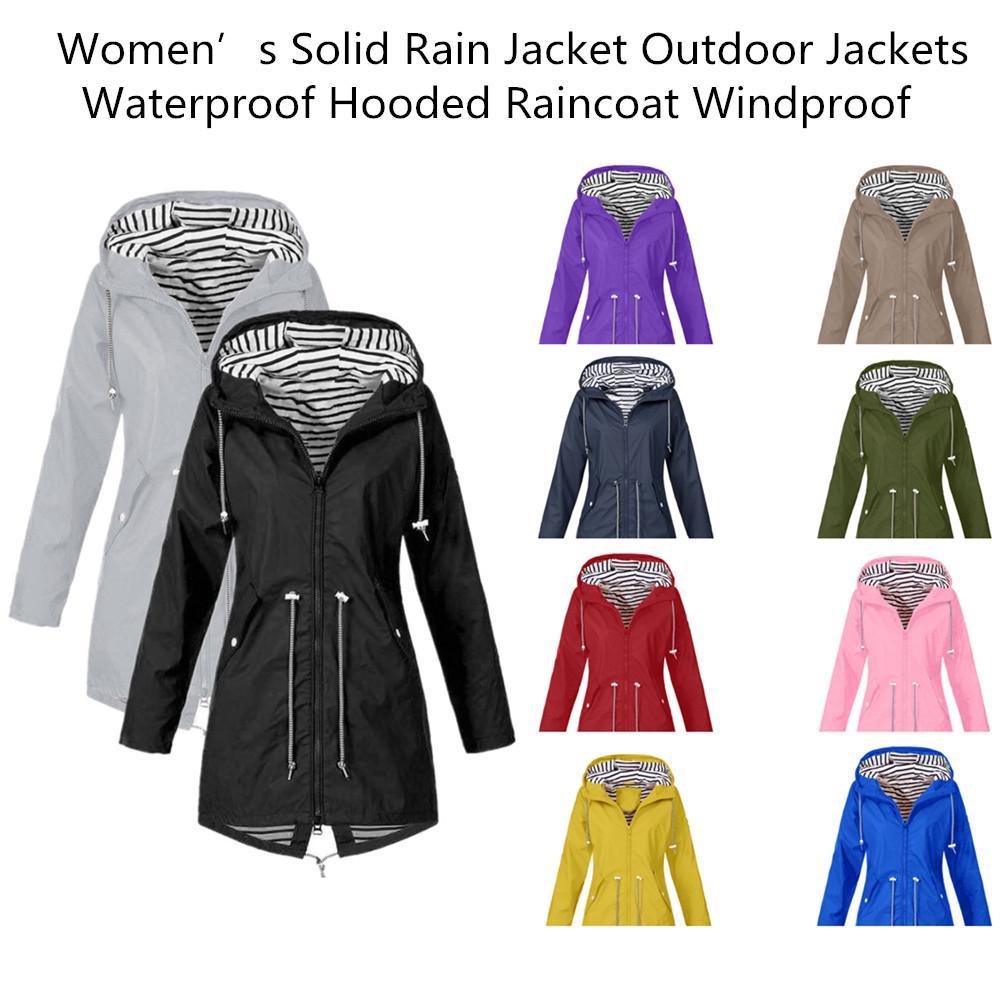 Womens Plus Size Long Jacket Windproof Drawstrings Zipper Hooded Poncho Coats UK