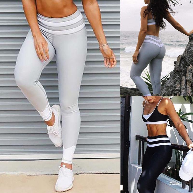 2017新款速卖通wish爆款腰部撞色拼接透气瑜伽健身运动修身打底裤