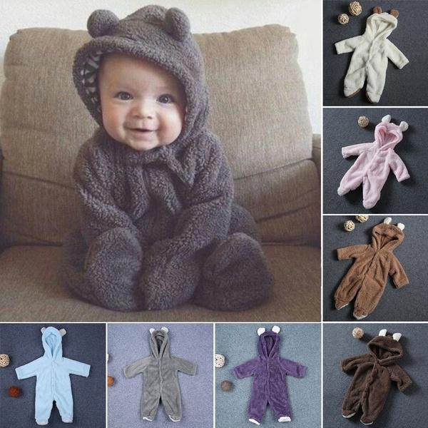 Симпатичные Медведь Ухо Baby Rompers Плюшевые Теплые Мягкие кнопки новорожденных Baby Jumpsuits – купить по низким ценам в интернет-магазине Joom