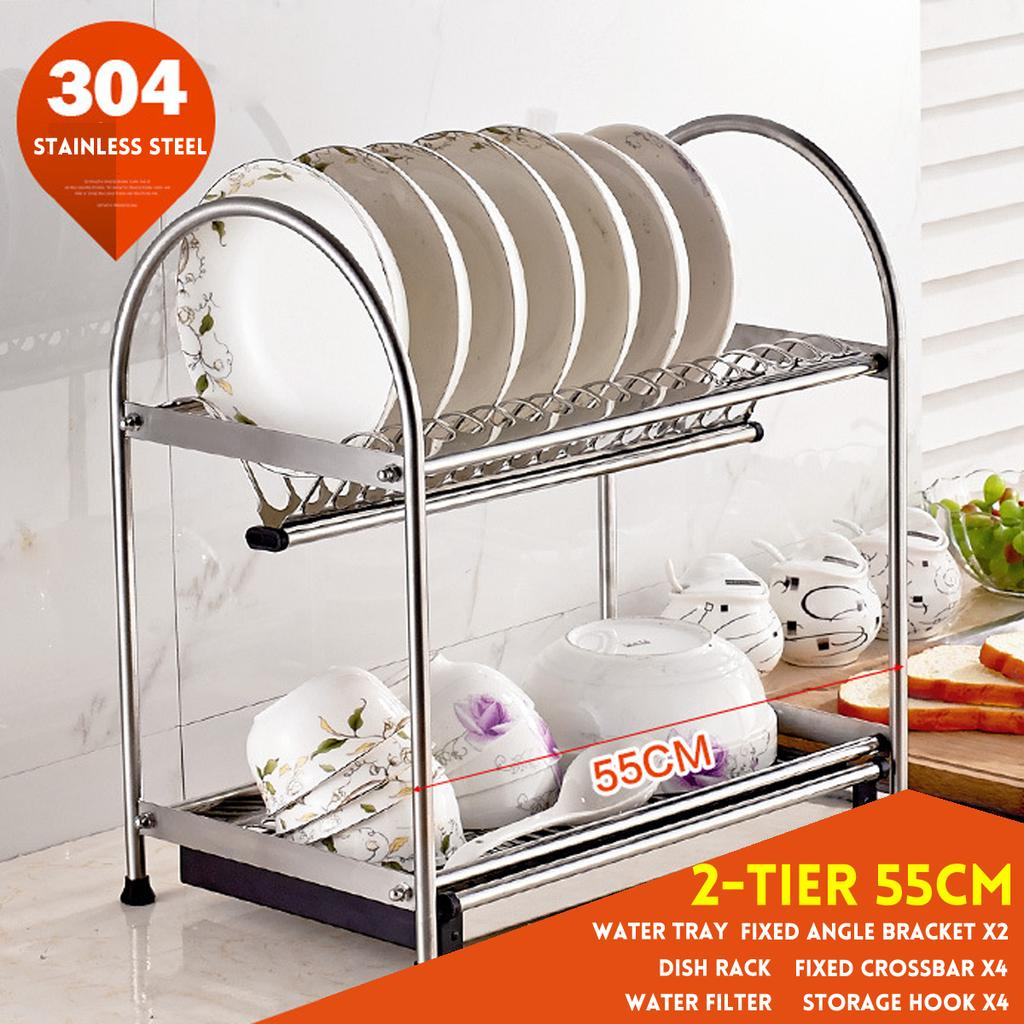 Buy 2 3 Tier 40 45cm Stainless Steel Sink Rack Kitchen Dish Drying Over Draining Storage Kit Drip Tray Tableware Drainer Organizer Utensils At Affordable Prices Free Shipping Real Reviews With Photos Joom