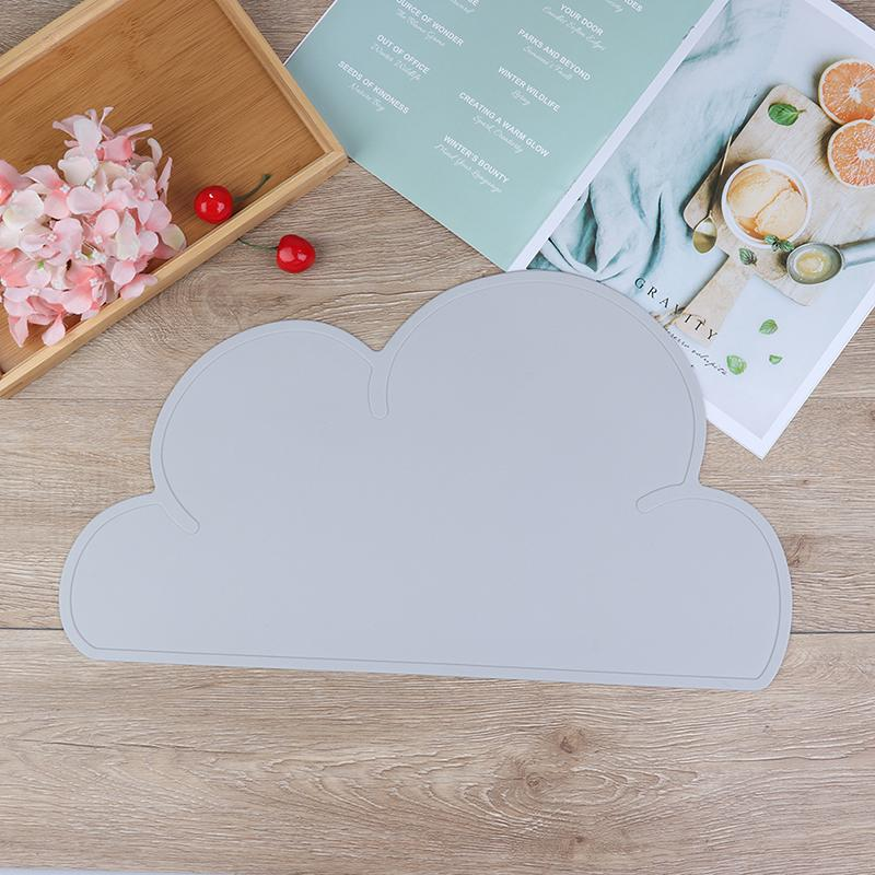 Kids Baby Bowl Room Table Mat Silicone Kitchen Pad Dining Placemat Cloud Shaped