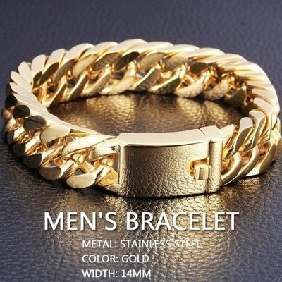 Men's Fashion Personality Bracelet Gold Color Stainless Steel Trendy Chain Bracelet Party Jewelry Gifts
