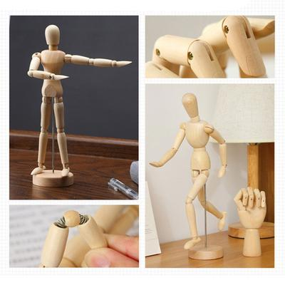 Wooden Artist Movable Tips Wooden Male Figure Model Mannequin BJD Art Sketch Draw Action Figure Toy