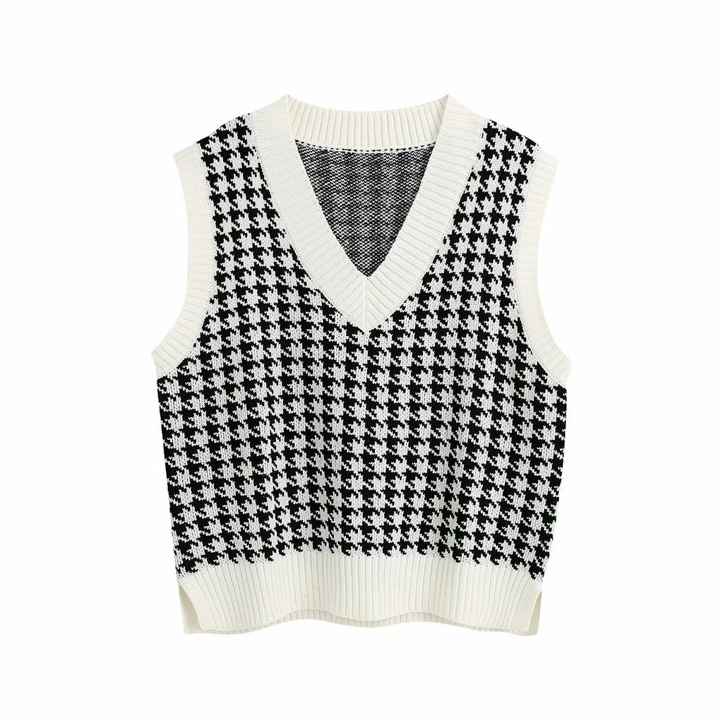 Women Casual Houndstooth Knitted Sweater Vest V-Neck Sleeveless Pullover Loose Knitwear Top