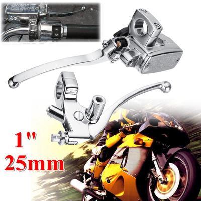 "Universal Motorcycle Chrome 1/"" 25mm Handlebar Brake Clutch Levers Chopper Custom"