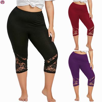 3eb4dec64e836 Купить. Плюс размер женщин мода кружева тощие брюки йога спортивные брюки  леггинсы брюки