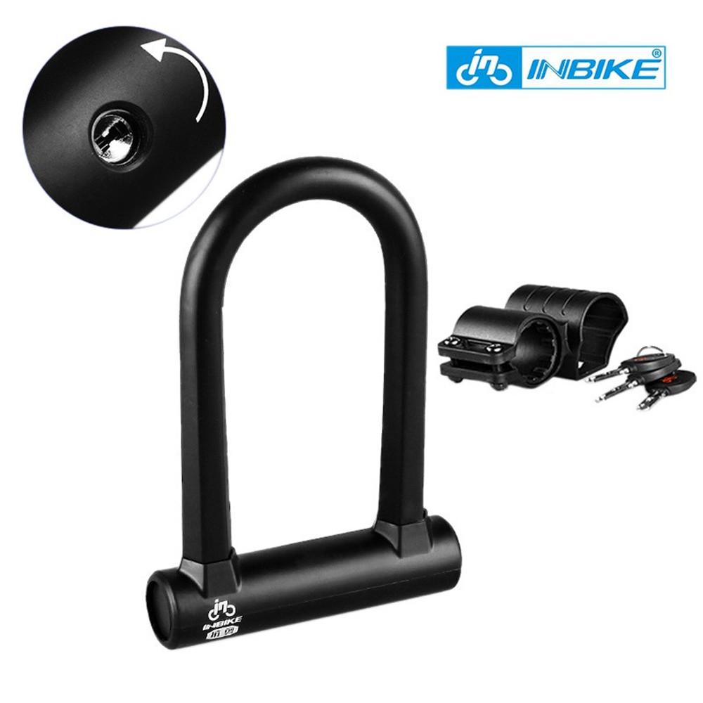 INBIKE 16mm Safe Bicycle Lock Heavy Duty Bike ULock Cable Cut Resistance Padlock