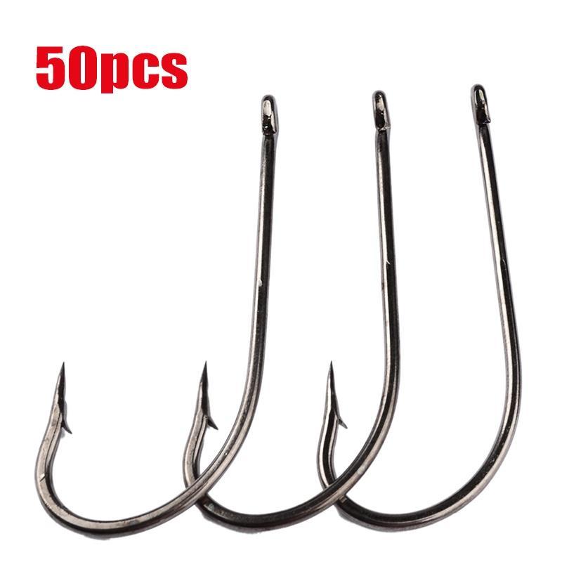 50pcs Jig Head Fishing Hooks Sharp Fishhook Carbon Steel Outdoor Fishing Tool
