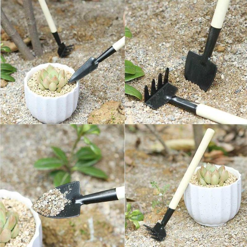 Garden Hand Tools 3pcs Practical Mini Spade Shovel Gardening Tools Children Harrow Shovel Rake Plant Maintenance Wooden Handle Garden Tool Set Strong Packing