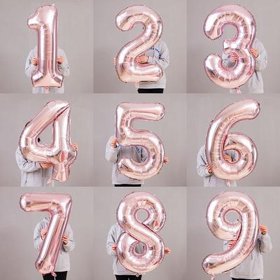 32\ Inch Giant Rose Gold Birthday Helium Foil Mylar Big Number Balloon Birthday Wedding Decorations