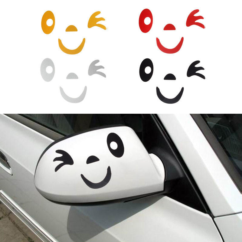 Mirror Rearview Car Side 3d Sticker Decal Smile Face Design Decoration Decals
