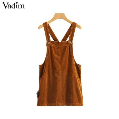 12b8254bb76 Vadim chic elegant solid corduroy dress pockets backless adjustable straps overalls  suspender women