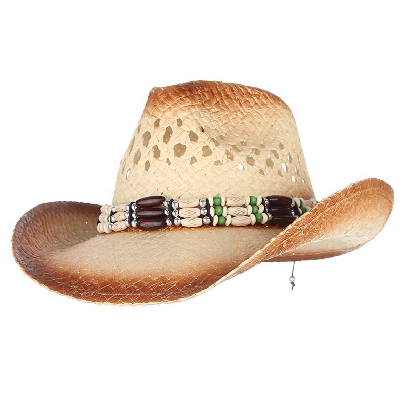 1f10f35d243a6 Vintage Ethnic Straw Hat Wide Brim Summer Sun Hat Handmade Cowboy ...
