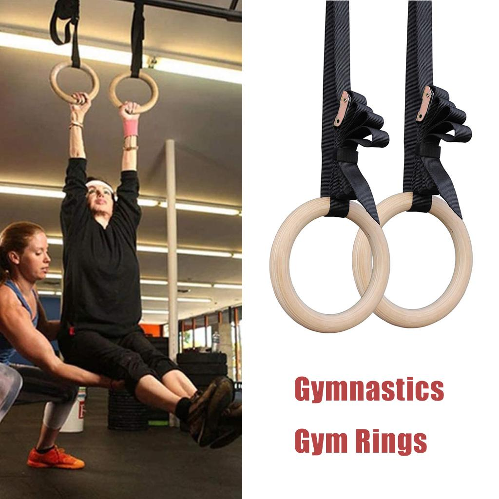New Wooden 28mm Calisthenics Fitness Gymnastic Rings Exercise Crossfit Pull Ups