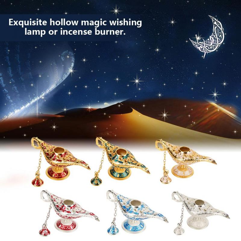 Aladdin Lamp Metal Carved Hollow Legend Lamp Hollow Aladdin Magic Genie Light Wishing Pot Home Decorations Blue