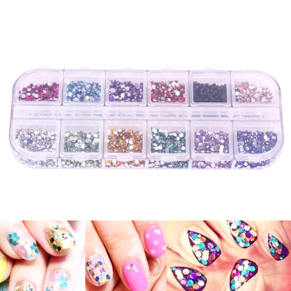 2mm 12 Farbe Bohrer Acryl Diamanten Nagel Stickrectangular Box ...