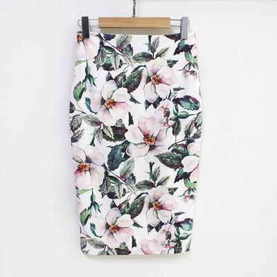 68e924b7 Letnia spódnica ołówkowa kobiet wysokiej talii zielone spódnice w stylu  vintage, elegancka sukienka w kwiatowe wzory bodycon Midi