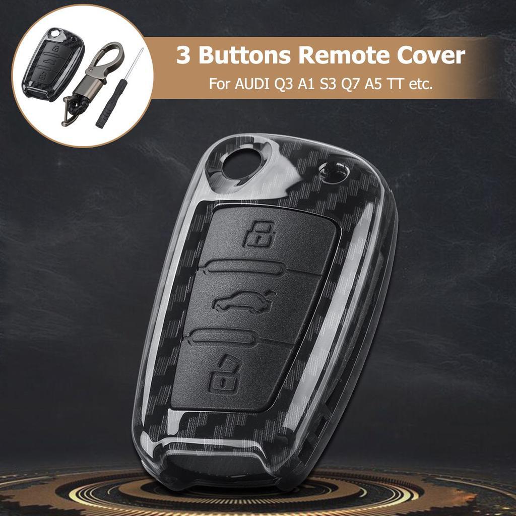 Carbon Fiber Color 3 Buttons Remote Smart Key Cover Fob For Audi A3 A4 A5 Tt 2003 2014 Buy At A Low Prices On Joom E Commerce Platform