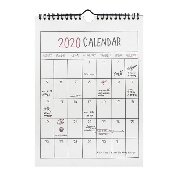 4 sheets 2019-2020 Calendar Stickers Self Adhesive Scrapbooking Decorations