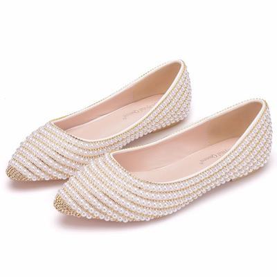 Women Casual Lattice Pointed Toe Flat Rhinestone Pearl Single Shoes Plus Size