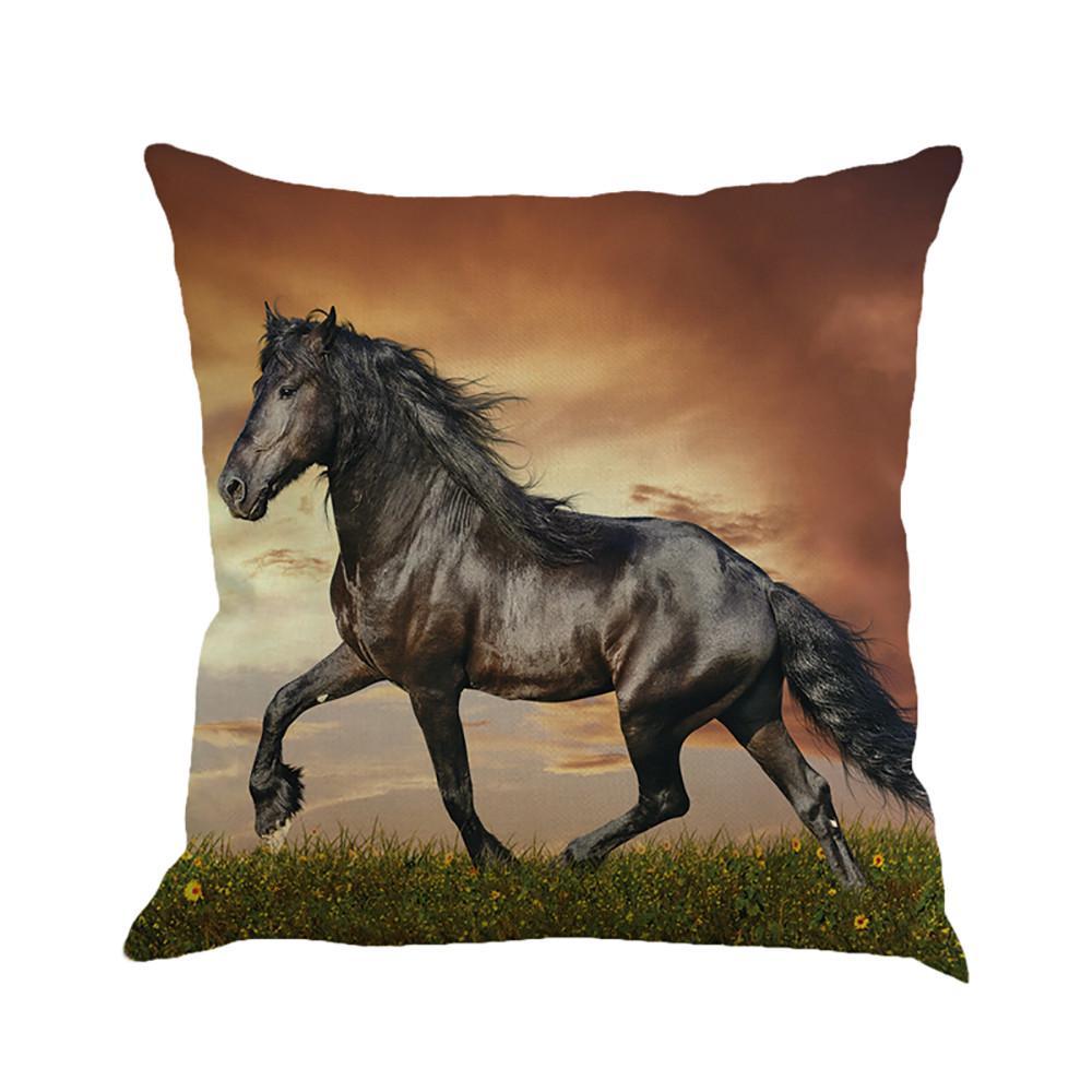 18 Animal Pattern Horse Cotton Linen Pillow Case Sofa Cushion Cover Home Decor