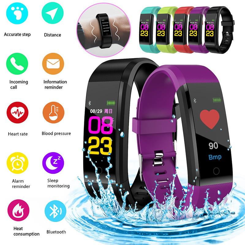 Bluetooth Smart Bracelet Heart Rate Monitor Fitness Tracker Sport Smart  Wristband