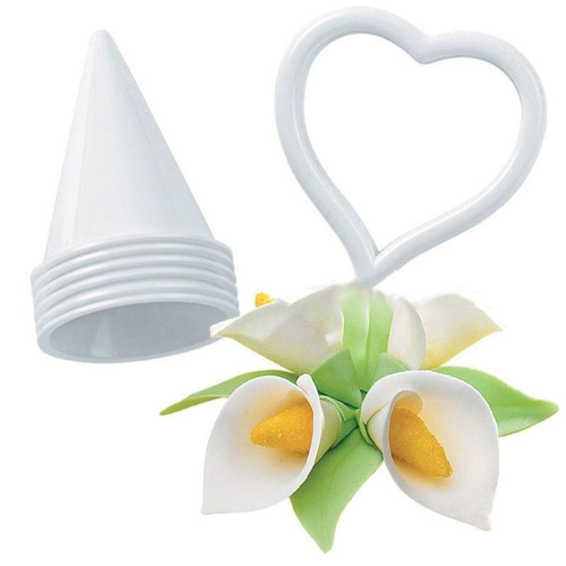 7PCS//Set Calla Lily Former Flower Modelling Cutter Gum Paste Cake Decor Tool IN
