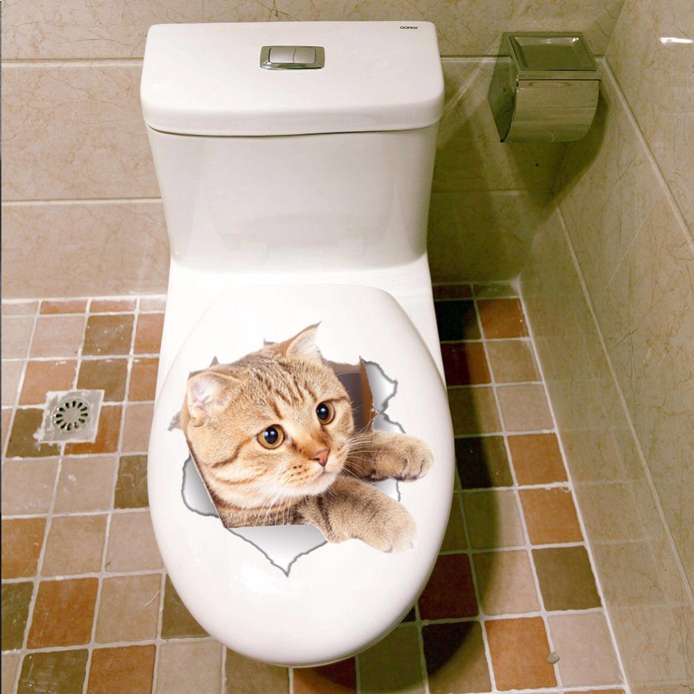 Cat LINDO Asiento del Inodoro-baño aseo a prueba de agua pegatinas de pared