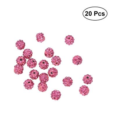100x Round Crystal Rhinestone Pave Clay Disco Ball Spacer Beads 6//8//10//12mm