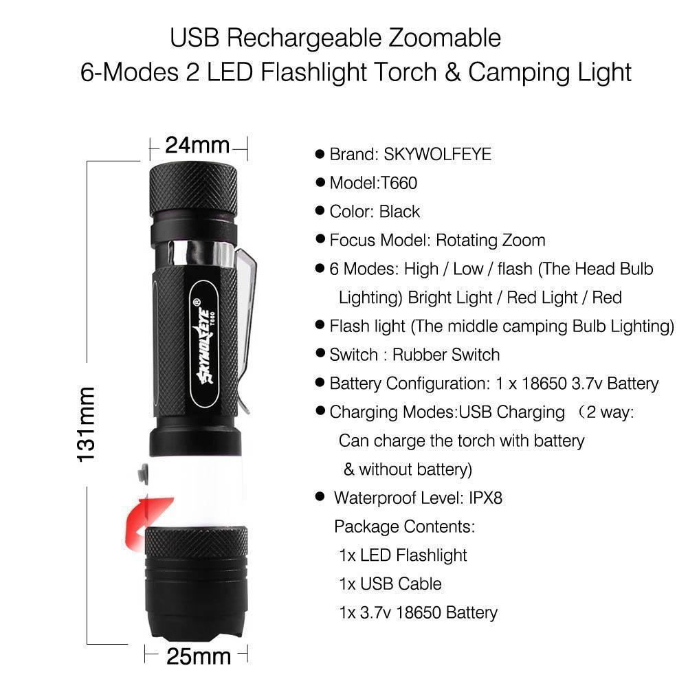 Led Flashlight Torch Zoomable Waterproof Cree T6 3800 Lm 6 Modes Usb Camping 2 Way Bulb Switch 1 Of 11