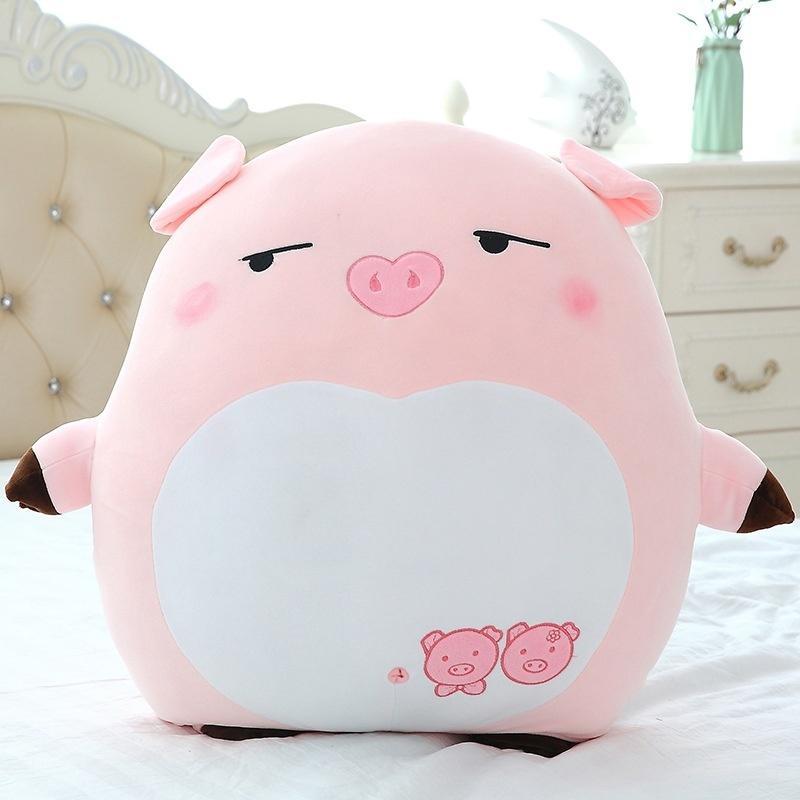 40//55cm Pink Sleepy Animal Body Pillow Cushion Plush Toys Doll Large Pig style