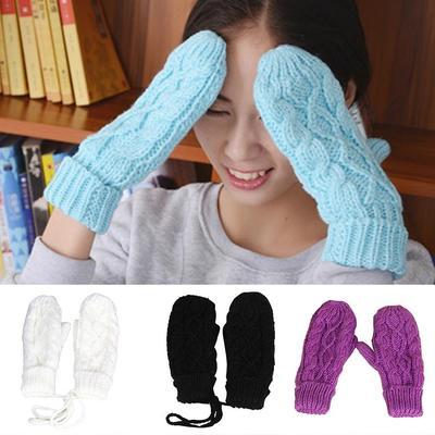 Mujeres moda polar invierno guantes sin dedos guantes mitones Flip ...