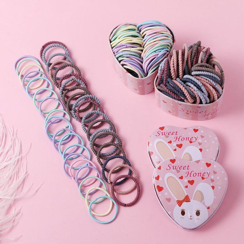 50Pcs Cartoon Elastic Rubber Hair Rope Band Ponytail Holder Kids Girl Colorful