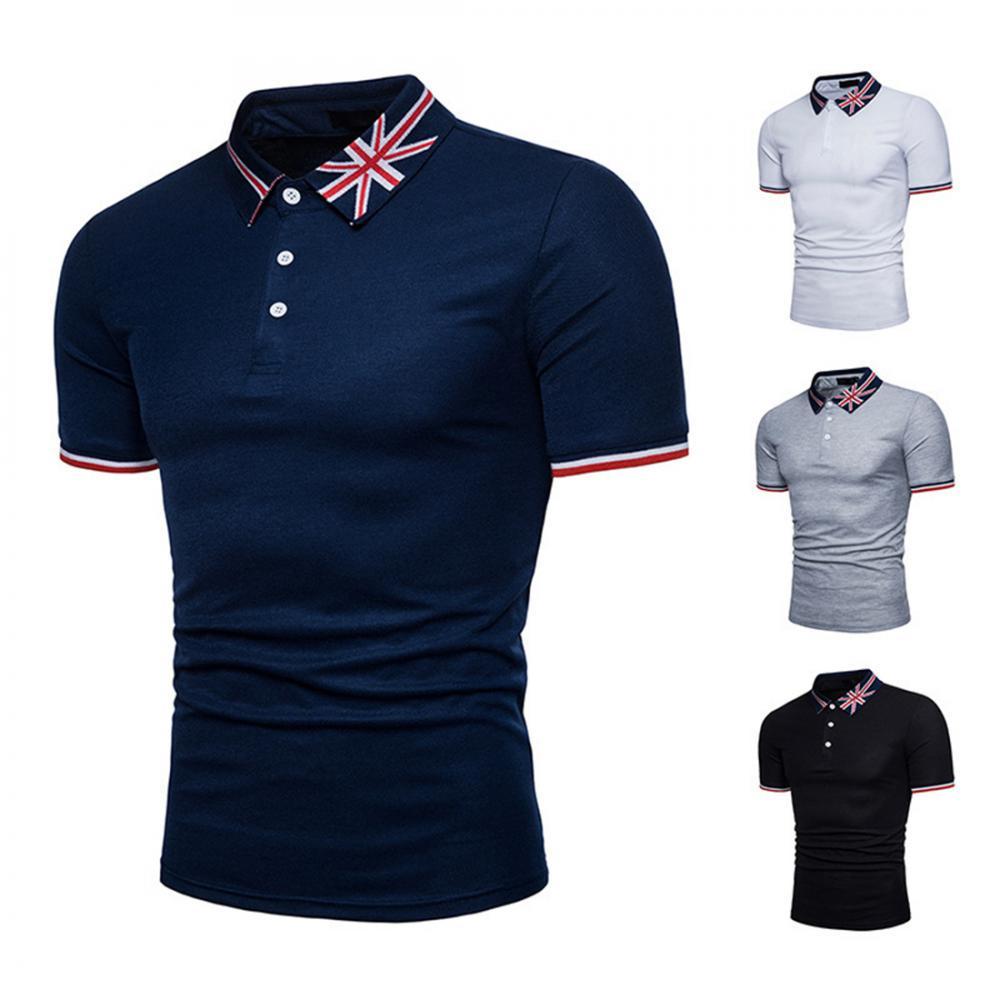 d6fb0c31a7edb Camisa de Polo de los hombres botón Color manga corta camiseta ...