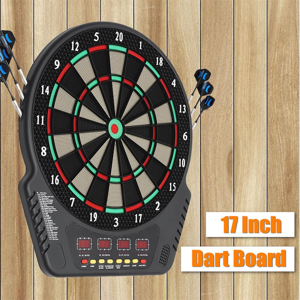 DART BOARD ELECTRONIC DARTBOARD LED SCORE DISPLAY SOFT TIP 18 GAMES VOICE DARTS