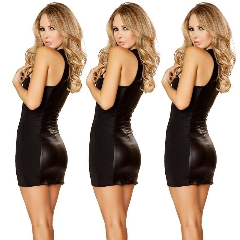c66f1d8fd4 Women Outfits Party Leather Dresses Female Latex Zipper Sleeveless V-neck  Clubwear Dress Plus Size