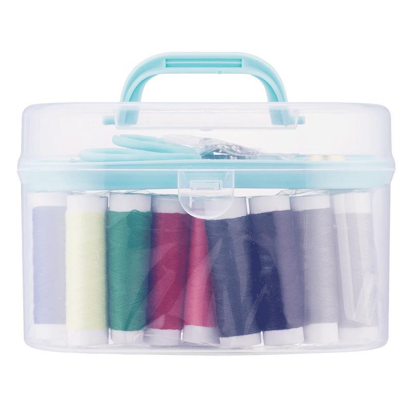 Portable Travel Small Home Sewing Kit Box Needle Thread Tape Scissor Mini Set