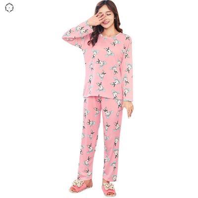 63418d2efa81 Женщина одежды свободные длинные рукава рубашки + длинные брюки пижамы  розовый костюм двухсекционный