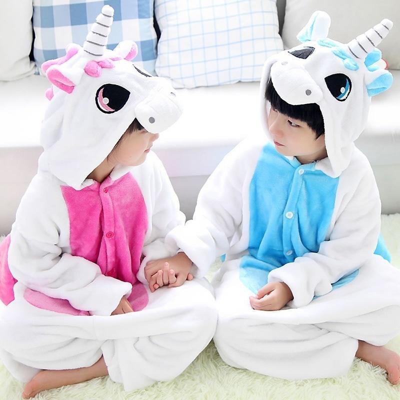 Мода животное Единорог дети пижамы один кусок детей фланель Комбинезоны –  купить по низким ценам в интернет-магазине Joom 734a046aac8ed