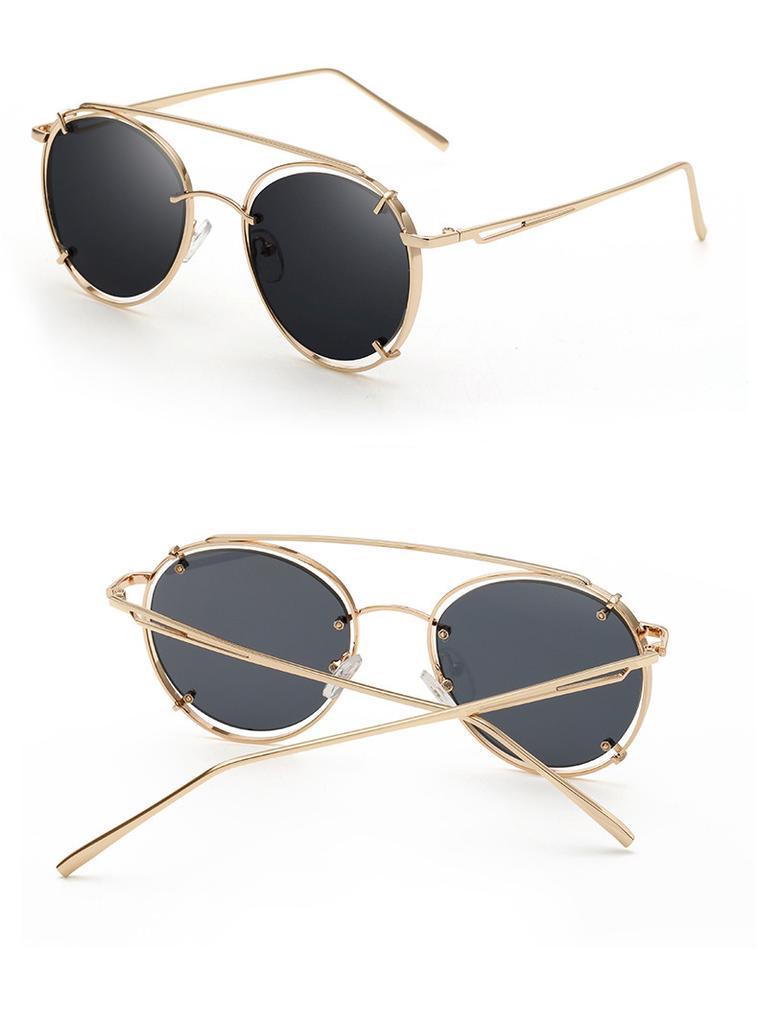 Las mujeres Vintage gafas de sol redondas marca diseñador marco ...