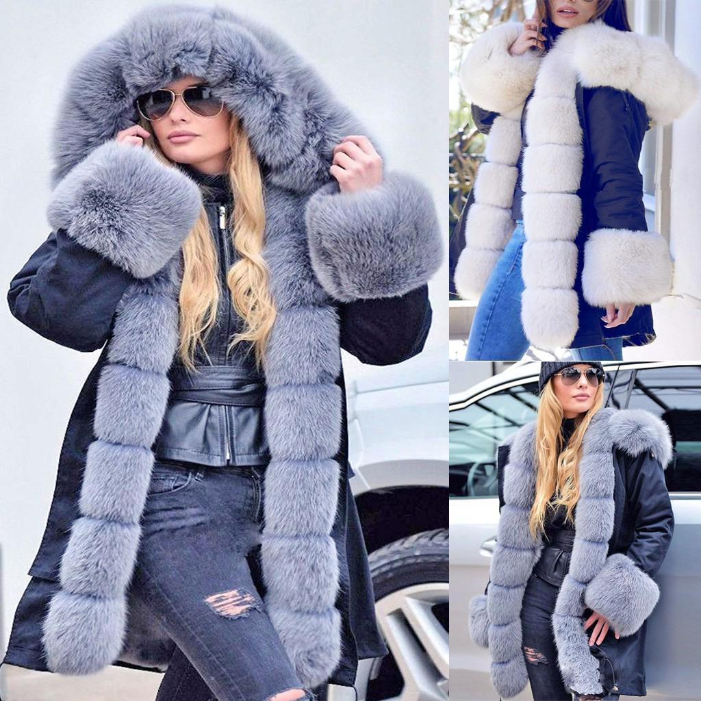 Женщины Руна Зимняя куртка с капюшоном пальто Рыбий хвост Теплый Длинные рукава Пальто – купить по низким ценам в интернет-магазине Joom