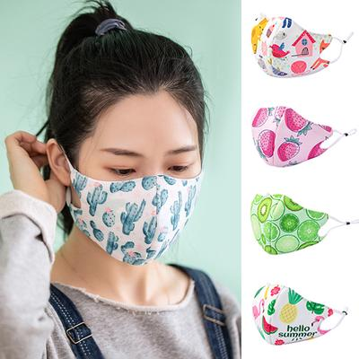 Childrens Funny Face Cotton Madks Dust-Proof Novelty Printed Breathable Reusable Face Bandana for Kids Anti-Fog Outdoor A