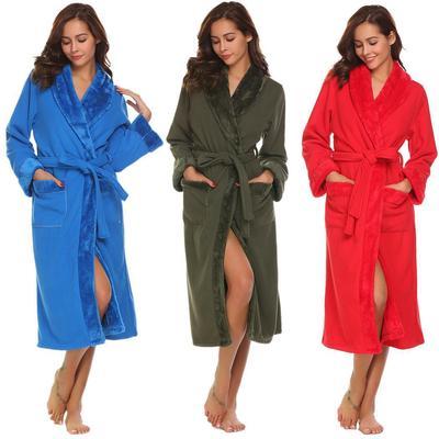 Mens Robe Warm Spa Bathrobe Long Sleeve Open Front Sleepwear