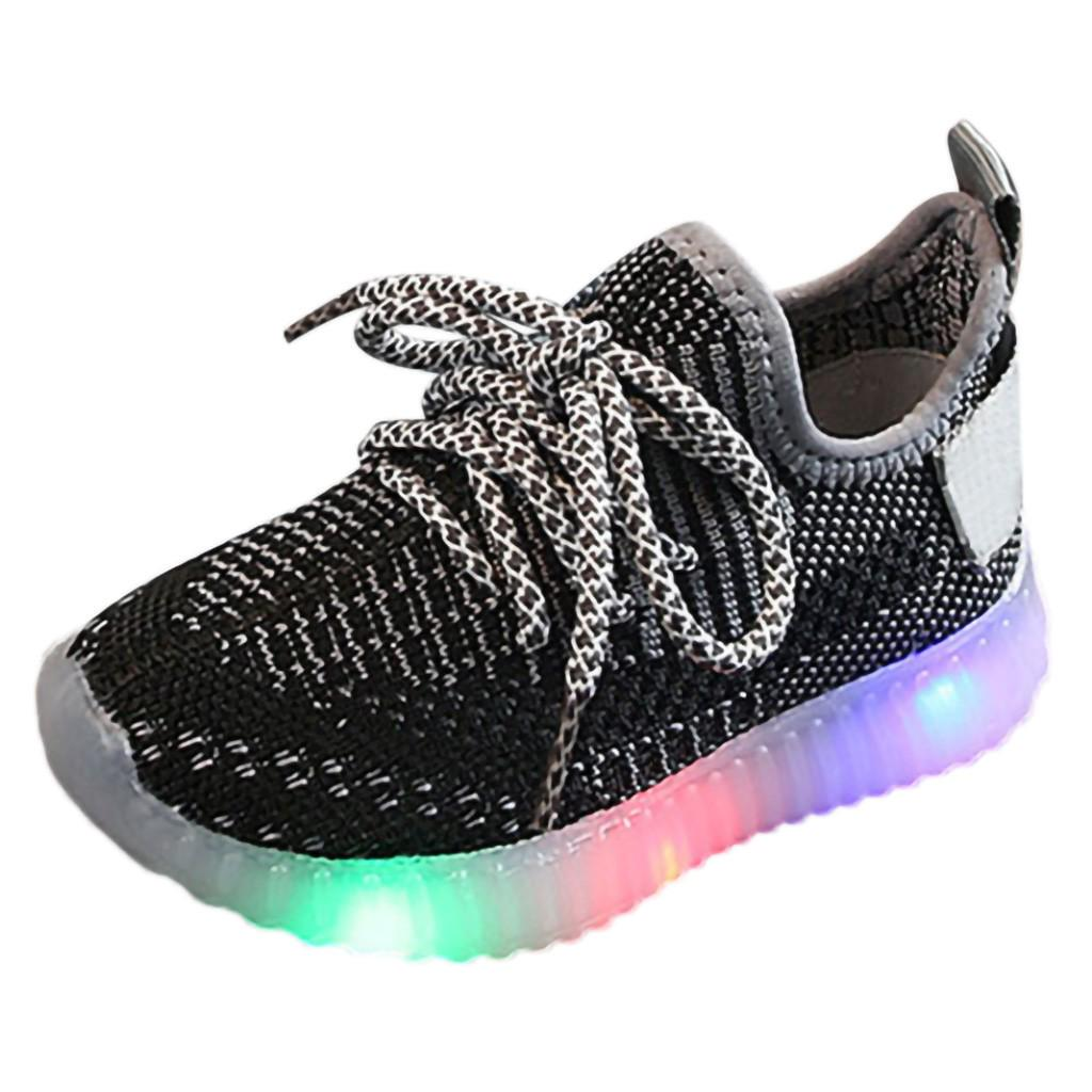 Toddler Kids Child Girl Boy Mesh Led Light Luminous Running Sport Sneaker Shoes