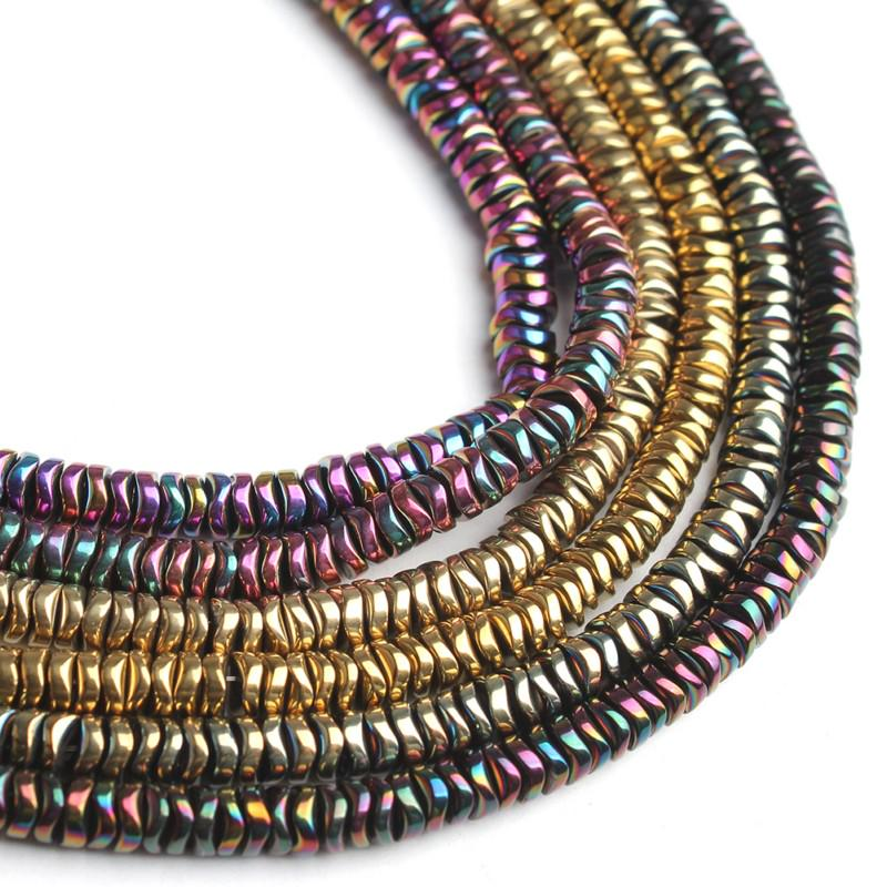 Gold Faceted Rondelle Hematite Stone Spacer Loose Beads for Jewelry Making 15/""