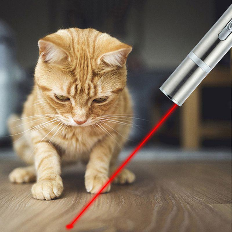 Pet Cat Kitten Toy Laser Pointer USB Charging LED Light Pen Torch Multi-pattern#