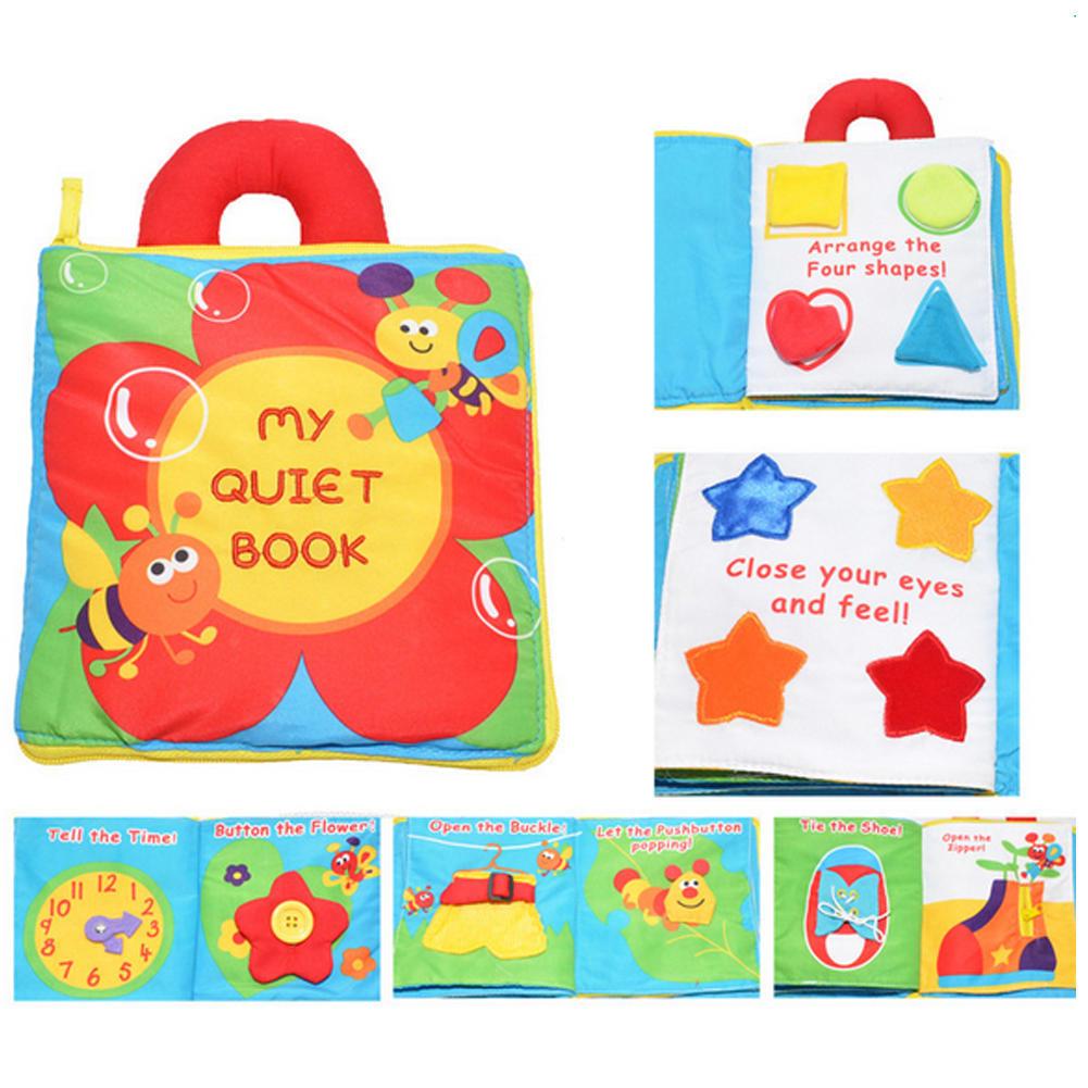 手提立体布书小熊晚安花朵数字 幼婴儿玩具早教书撕不烂 益智布书